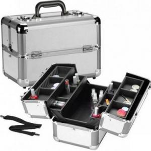 Veliki metalni kofer za šminku, nakit sa pregradama_1