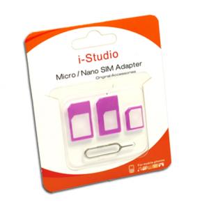 Micro-nano SIM adapter 3in1 purple