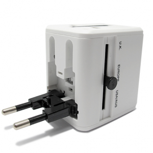 Univerzalni Travel Adapter EU USA UK AUS + punjac 2xUSB 1A beli 2