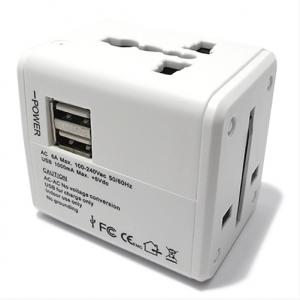 Univerzalni Travel Adapter EU USA UK AUS + punjac 2xUSB 1A beli
