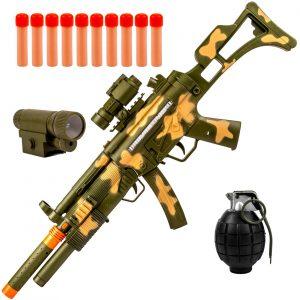 Puška na metkove od pene sa vojnom opremom