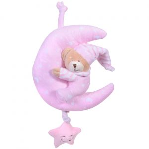 Uspavani meda zvečka na navijanje - roze boje