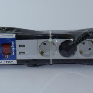 Razdelnik napona sa 3 uticnice + USB NOVO 2
