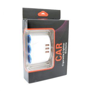 Produzni adapter za upaljac 521 sa 3 rupe+3XUSB beli